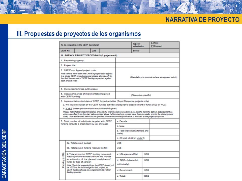 III. Propuestas de proyectos de los organismos