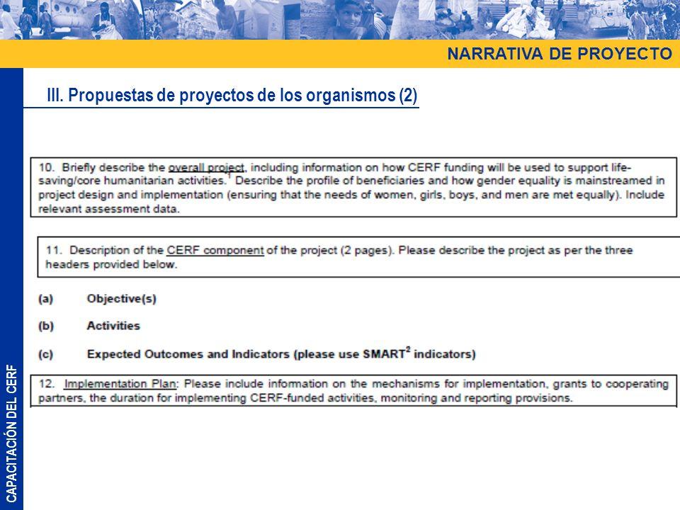 III. Propuestas de proyectos de los organismos (2)