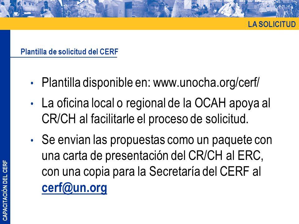 Plantilla disponible en: www.unocha.org/cerf/