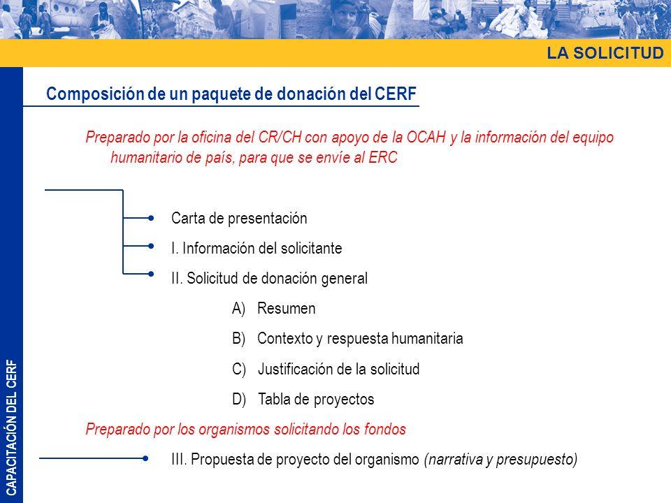 Composición de un paquete de donación del CERF