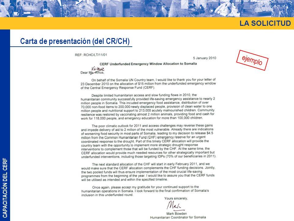 Carta de presentación (del CR/CH)