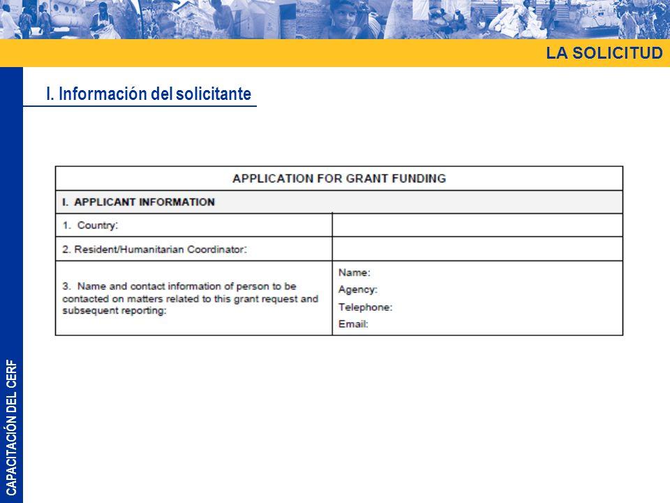 I. Información del solicitante