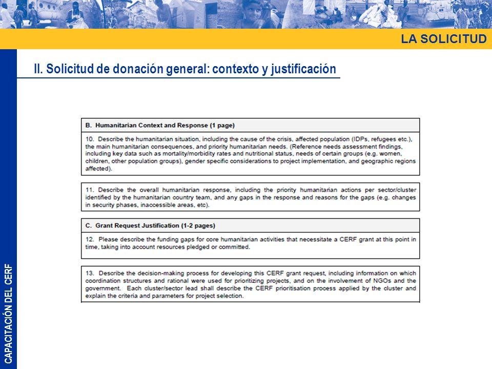 II. Solicitud de donación general: contexto y justificación