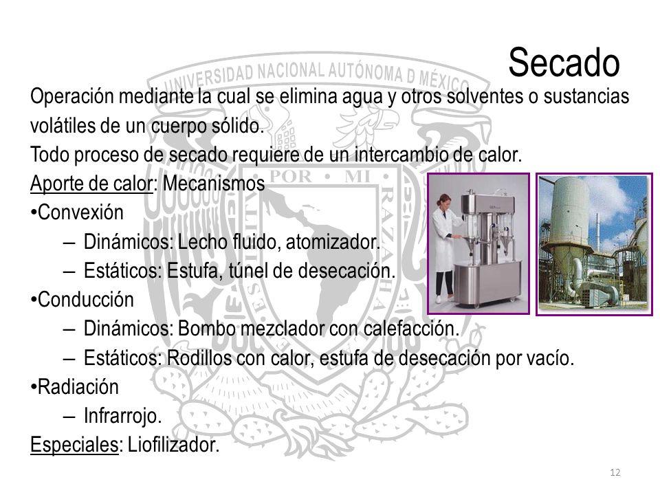 SecadoOperación mediante la cual se elimina agua y otros solventes o sustancias. volátiles de un cuerpo sólido.