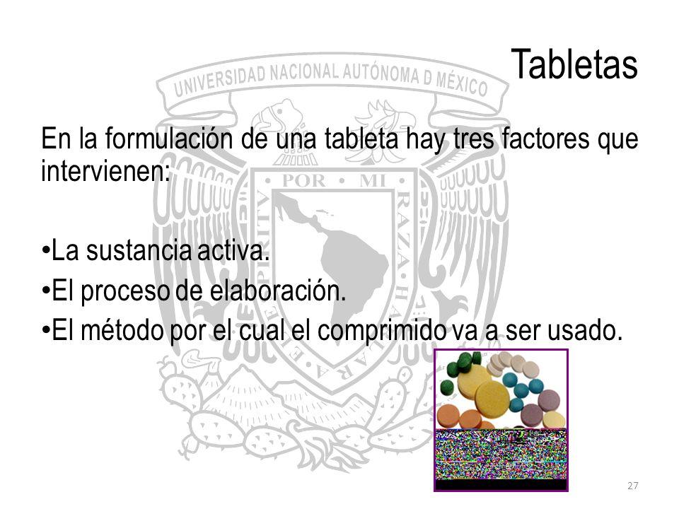 Tabletas En la formulación de una tableta hay tres factores que intervienen: La sustancia activa. El proceso de elaboración.