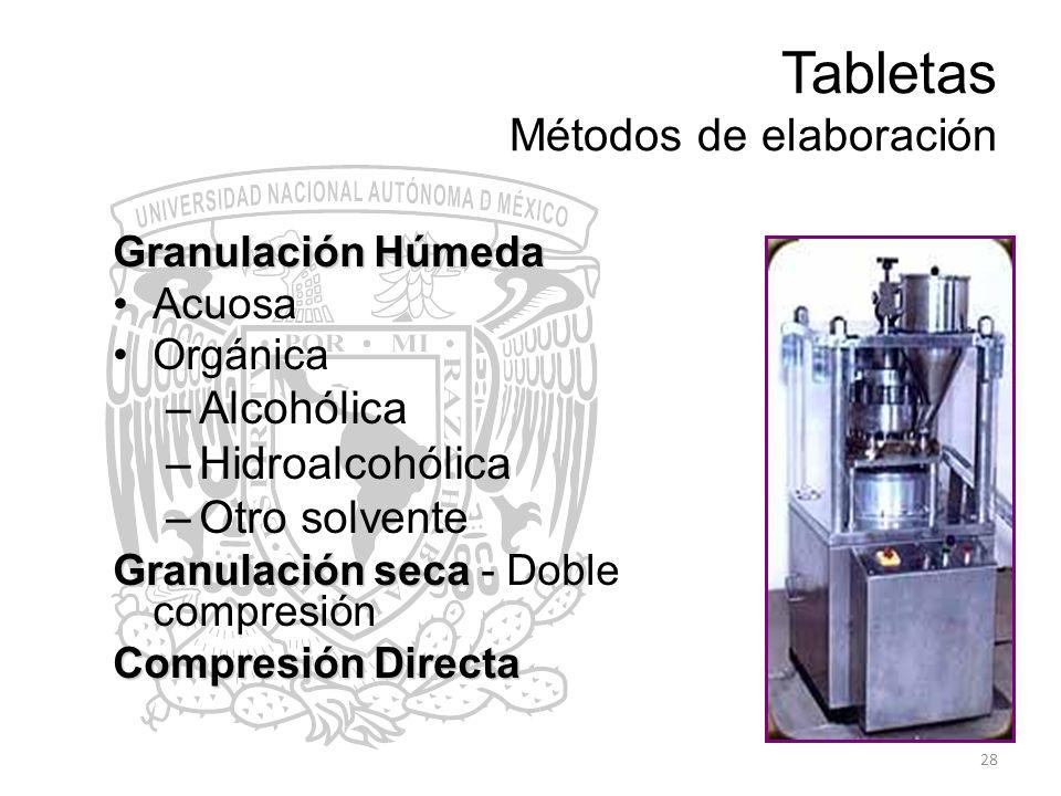 Tabletas Métodos de elaboración