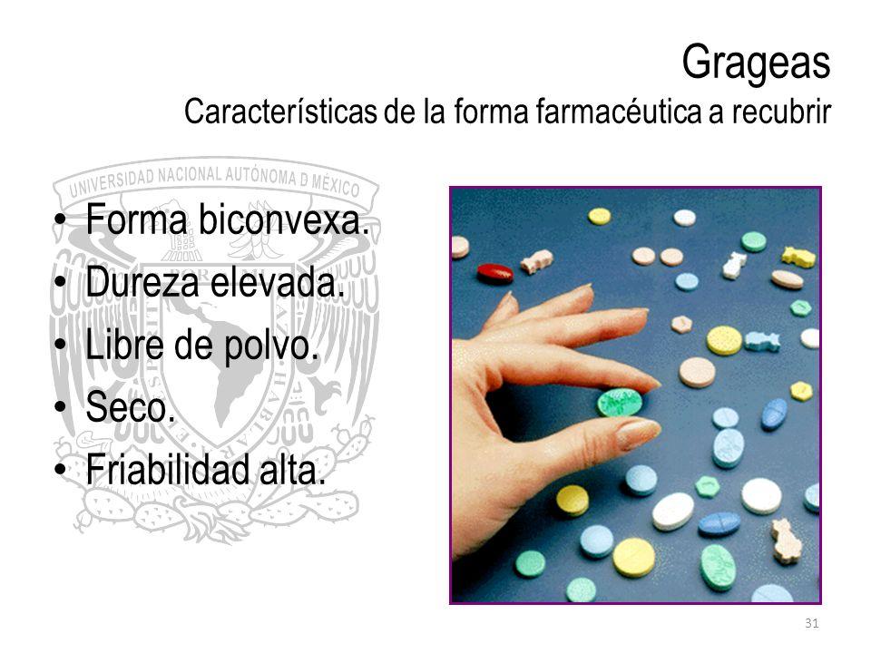 Grageas Características de la forma farmacéutica a recubrir