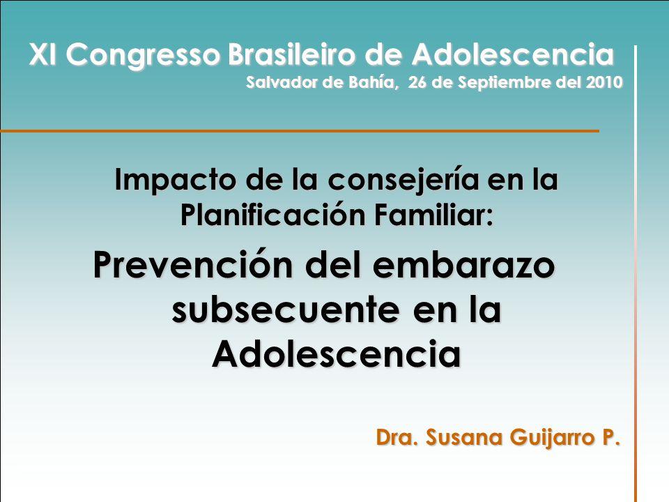 Prevención del embarazo subsecuente en la Adolescencia