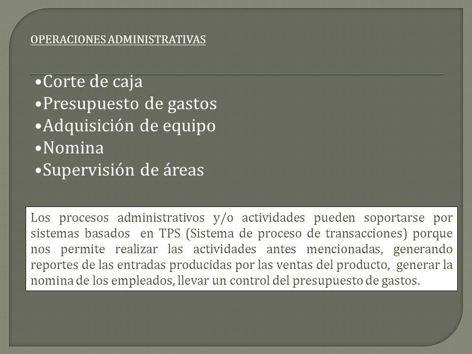 Corte de caja Presupuesto de gastos Adquisición de equipo Nomina