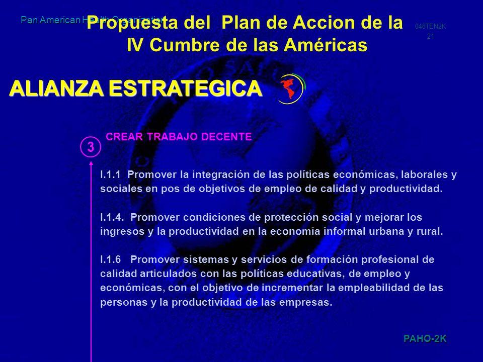 Propuesta del Plan de Accion de la IV Cumbre de las Américas