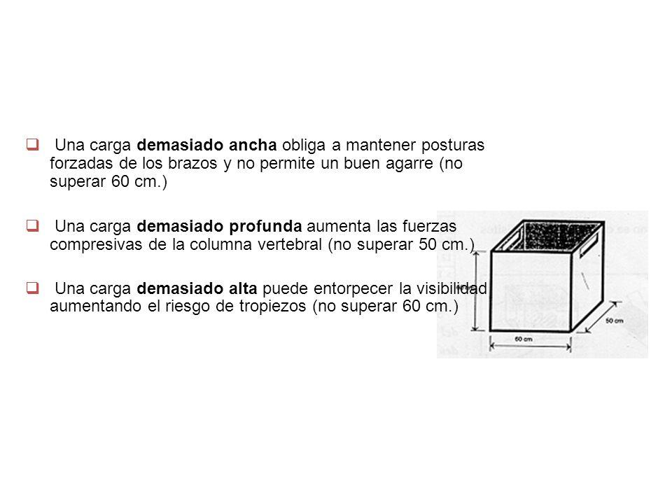 REDISEÑAR LA CARGA Una carga demasiado ancha obliga a mantener posturas forzadas de los brazos y no permite un buen agarre (no superar 60 cm.)