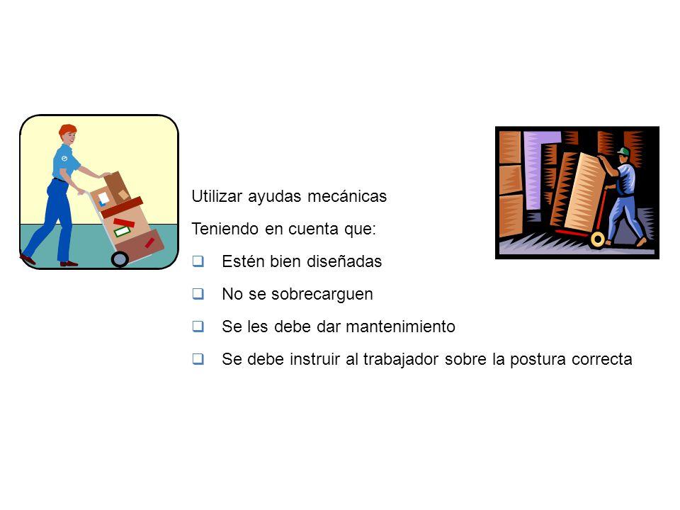 PREVENCIÓN Y CONTROL Utilizar ayudas mecánicas Teniendo en cuenta que: