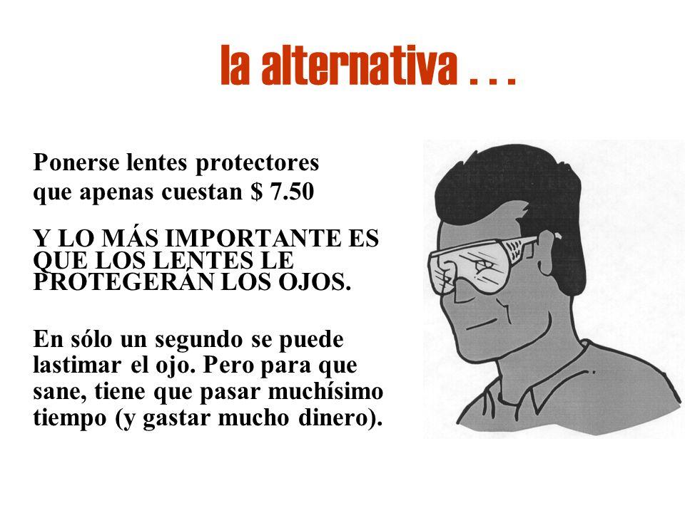 la alternativa . . . Ponerse lentes protectores