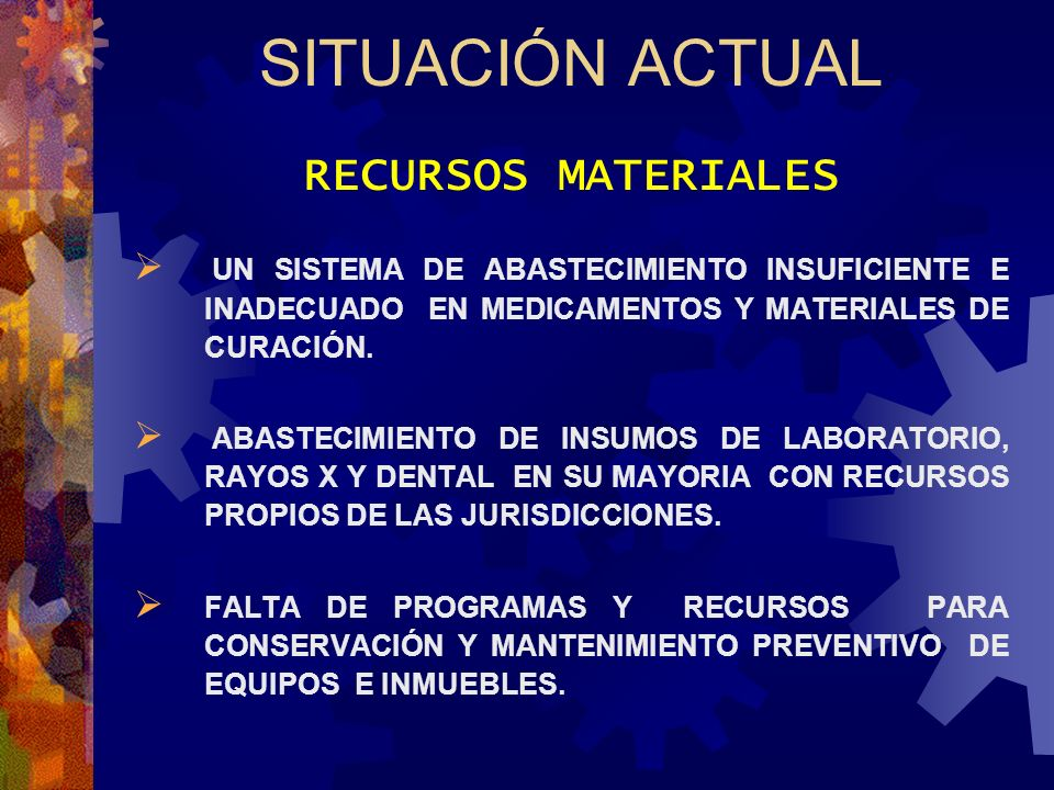 SITUACIÓN ACTUAL RECURSOS MATERIALES