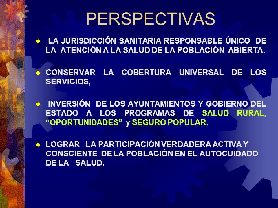 PERSPECTIVAS LA JURISDICCIÓN SANITARIA RESPONSABLE ÚNICO DE LA ATENCIÓN A LA SALUD DE LA POBLACIÓN ABIERTA.