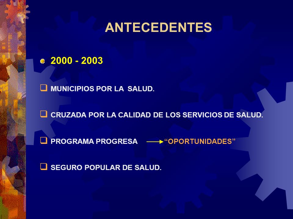 ANTECEDENTES 2000 - 2003 MUNICIPIOS POR LA SALUD.