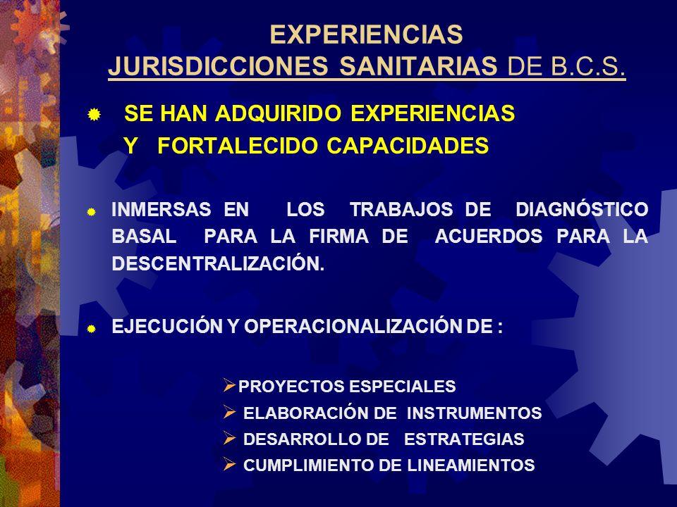 EXPERIENCIAS JURISDICCIONES SANITARIAS DE B.C.S.