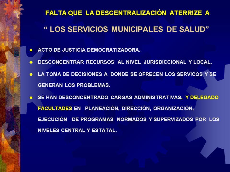 FALTA QUE LA DESCENTRALIZACIÓN ATERRIZE A LOS SERVICIOS MUNICIPALES DE SALUD