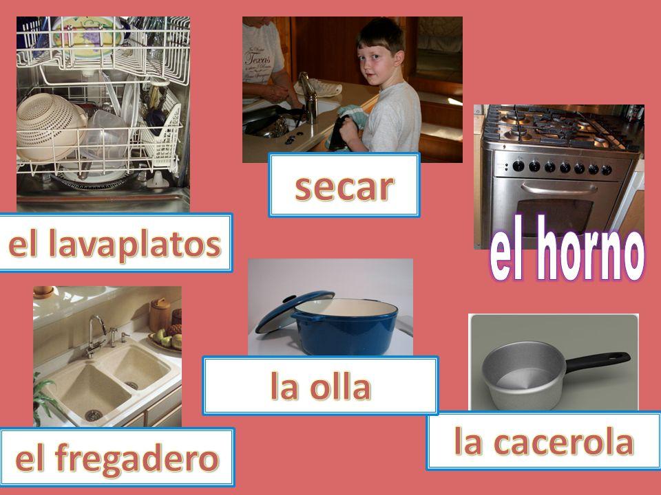 secar el lavaplatos el horno la olla la cacerola el fregadero