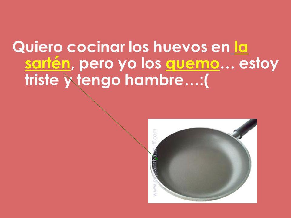 Quiero cocinar los huevos en la sartén, pero yo los quemo… estoy triste y tengo hambre…:(