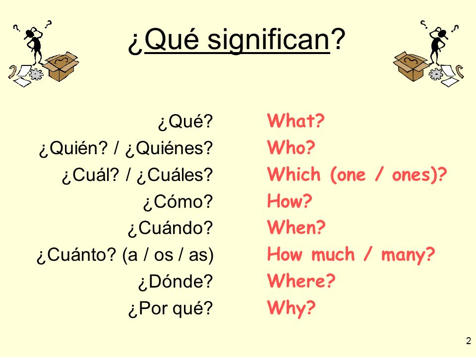 ¿Qué significan ¿Qué ¿Quién / ¿Quiénes ¿Cuál / ¿Cuáles ¿Cómo
