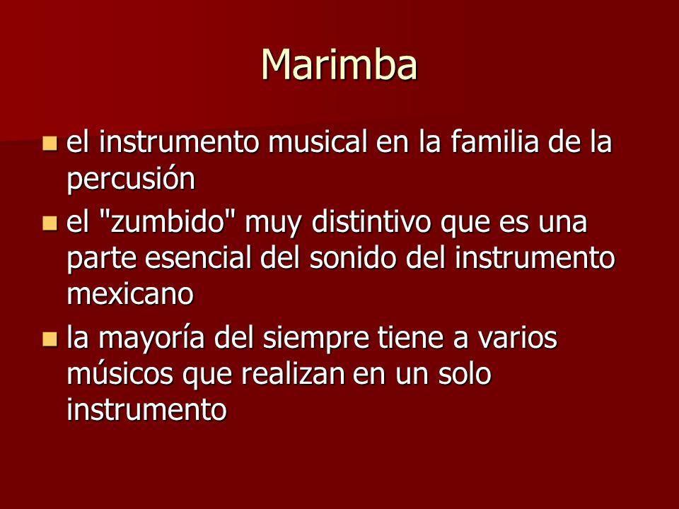 Marimba el instrumento musical en la familia de la percusión