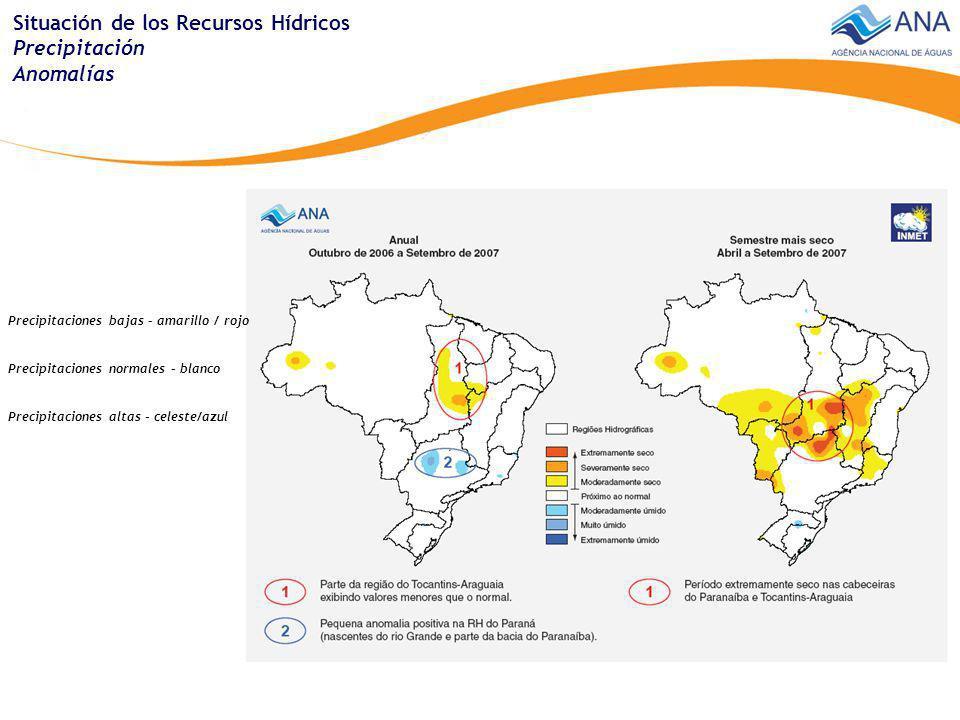 Situación de los Recursos Hídricos Precipitación Anomalías