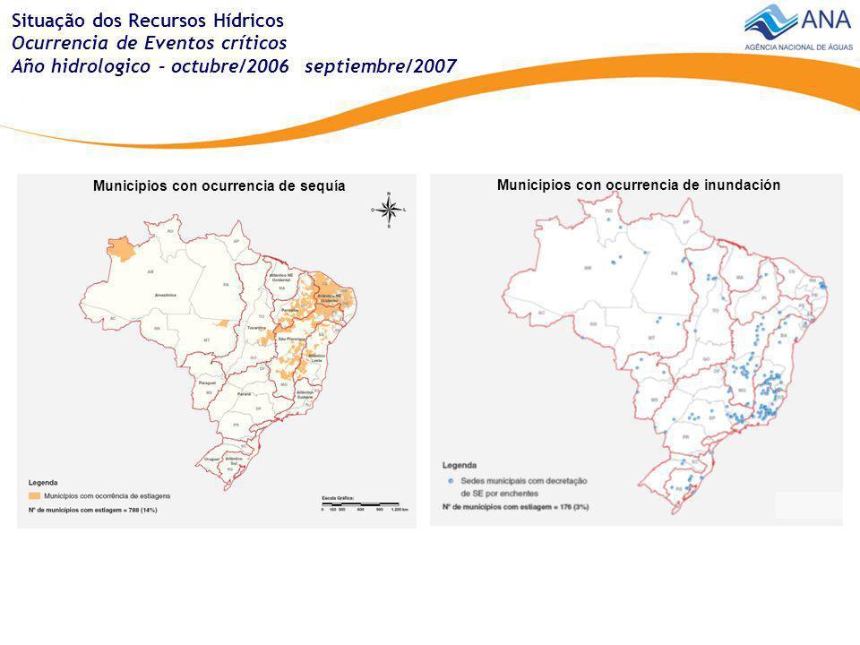 Situação dos Recursos Hídricos Ocurrencia de Eventos críticos