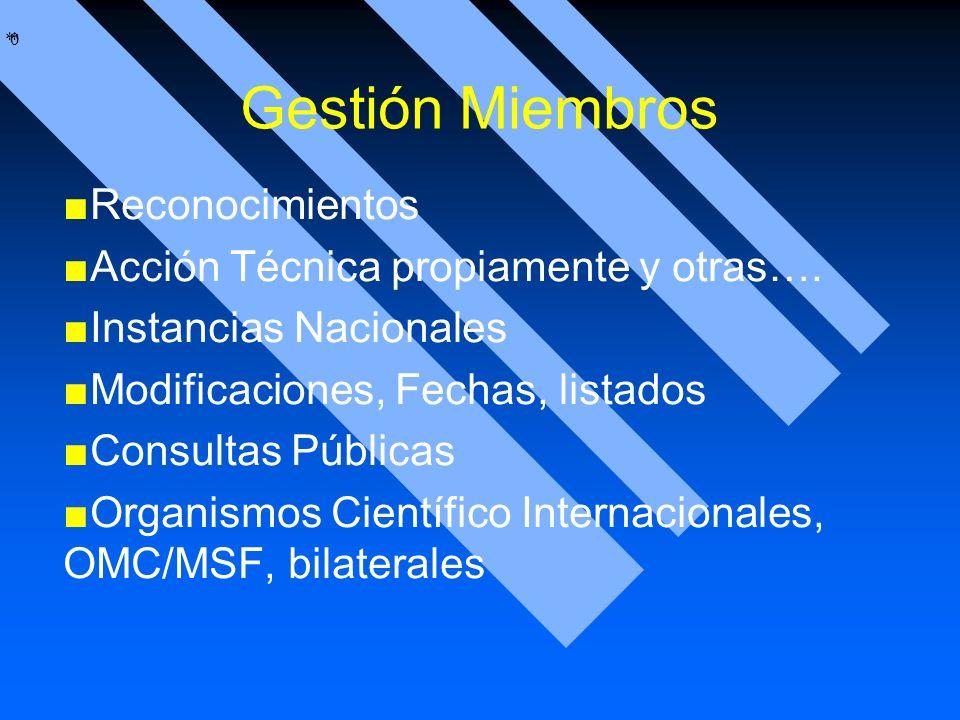 Gestión Miembros Reconocimientos Acción Técnica propiamente y otras….