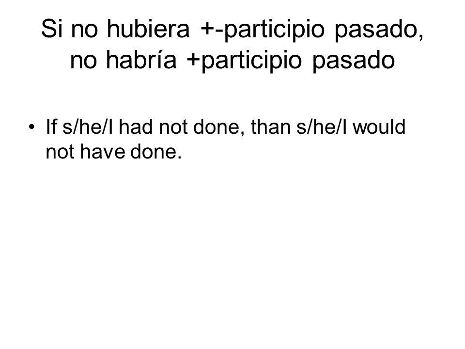 Si no hubiera +-participio pasado, no habría +participio pasado