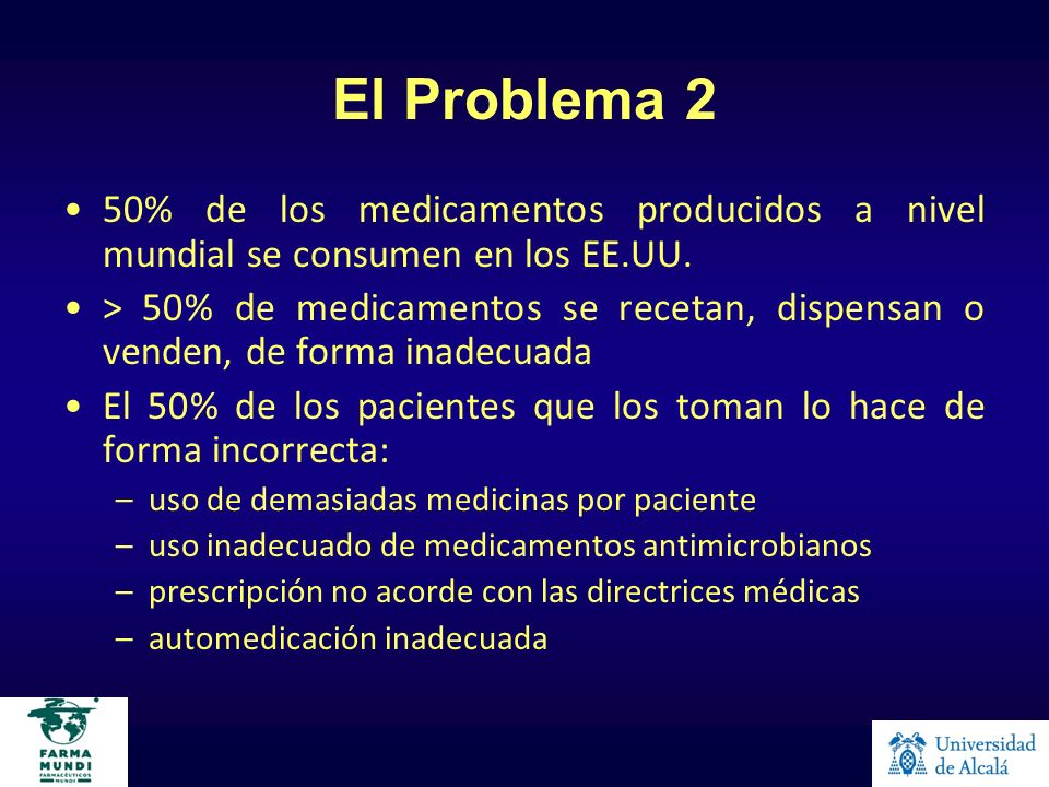 El Problema 250% de los medicamentos producidos a nivel mundial se consumen en los EE.UU.