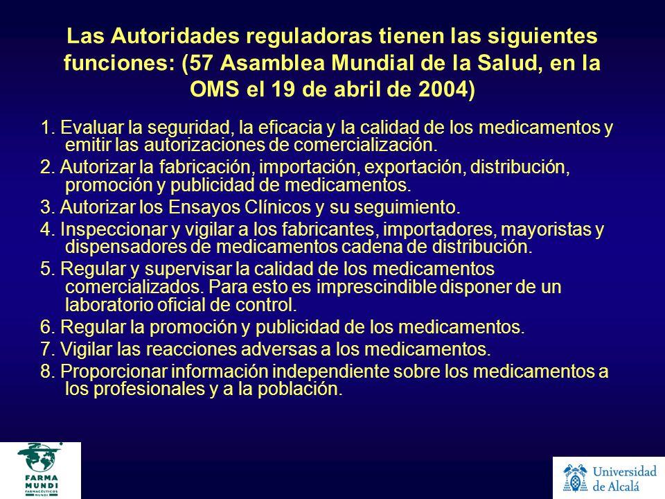 Las Autoridades reguladoras tienen las siguientes funciones: (57 Asamblea Mundial de la Salud, en la OMS el 19 de abril de 2004)