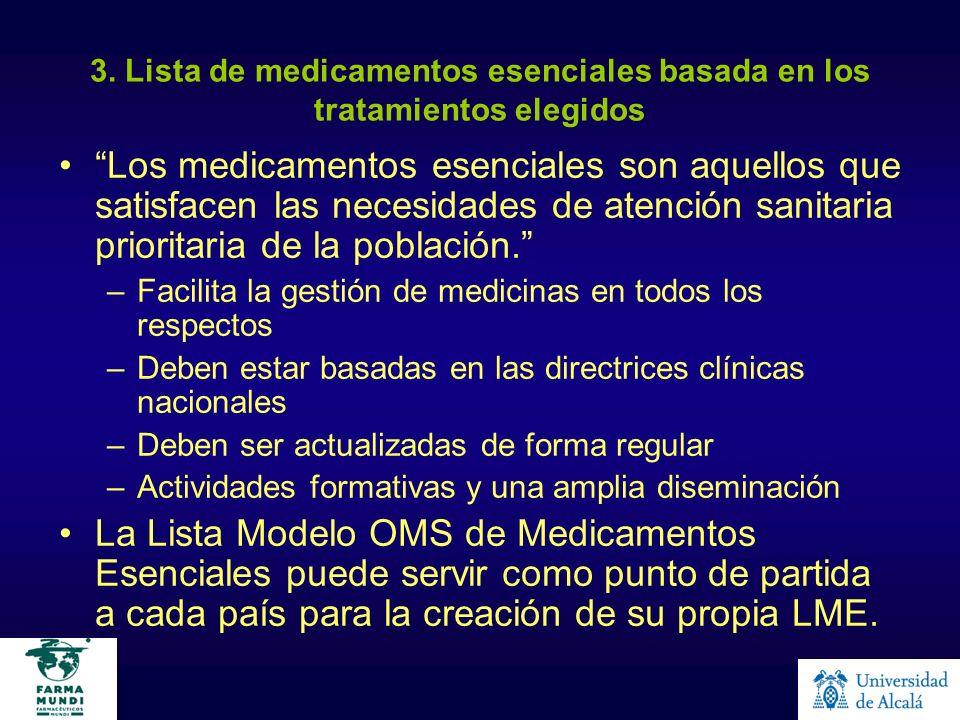 3. Lista de medicamentos esenciales basada en los tratamientos elegidos