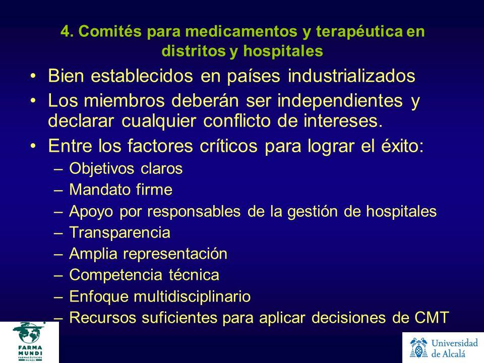 4. Comités para medicamentos y terapéutica en distritos y hospitales