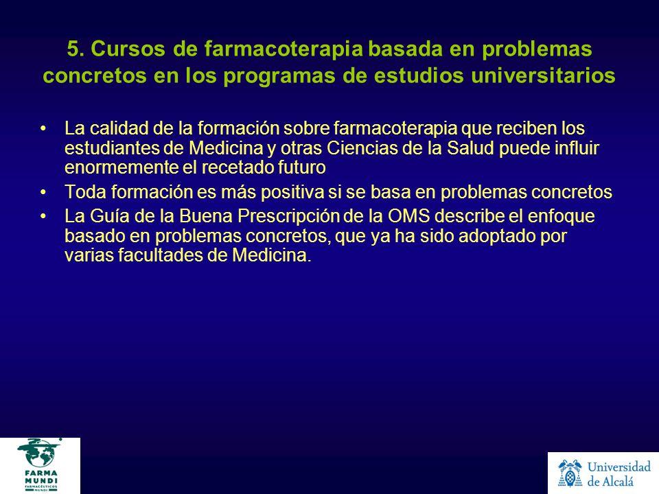 5. Cursos de farmacoterapia basada en problemas concretos en los programas de estudios universitarios