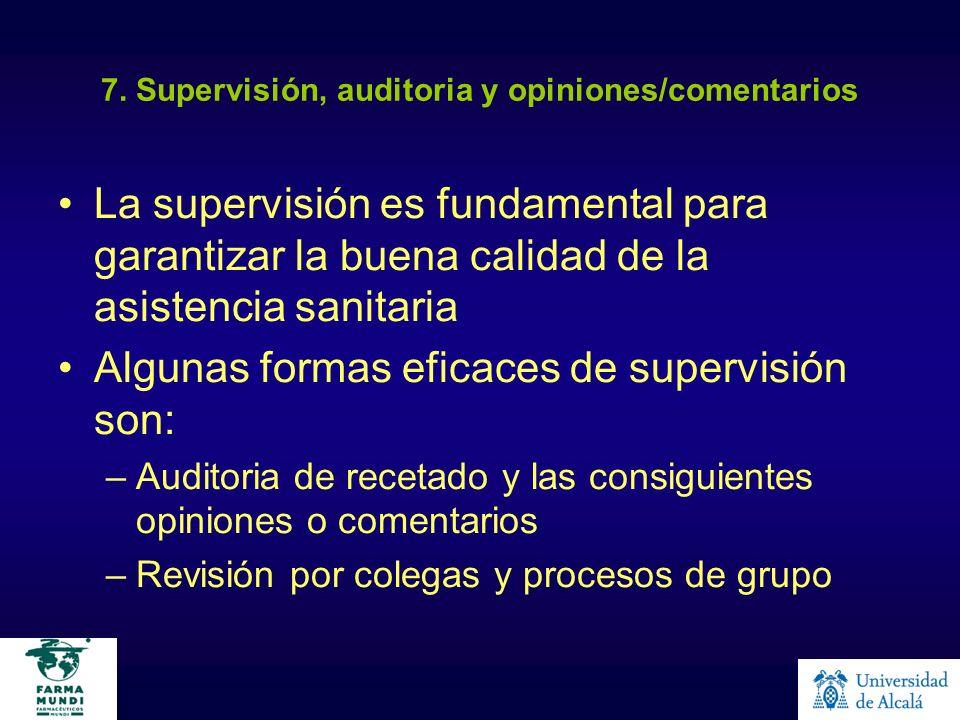 7. Supervisión, auditoria y opiniones/comentarios