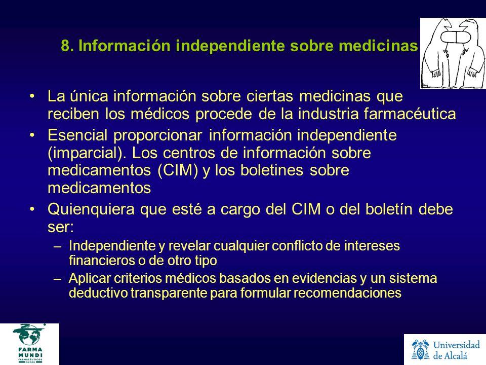8. Información independiente sobre medicinas