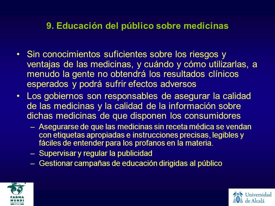 9. Educación del público sobre medicinas