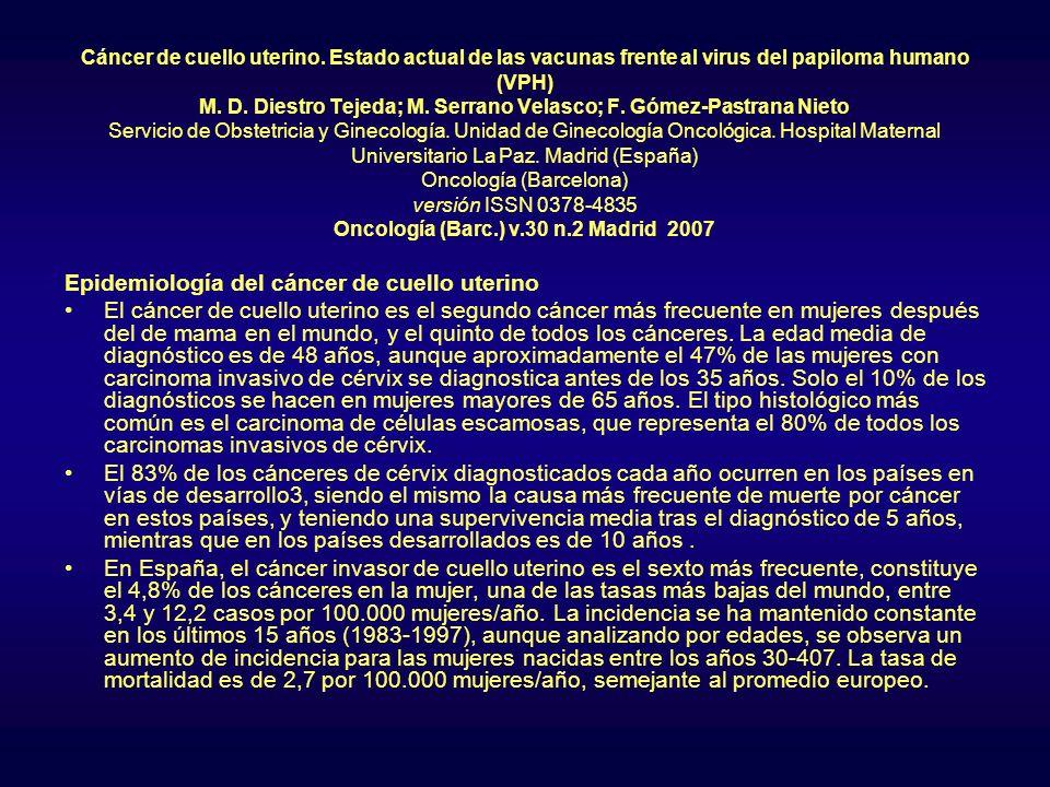 Epidemiología del cáncer de cuello uterino
