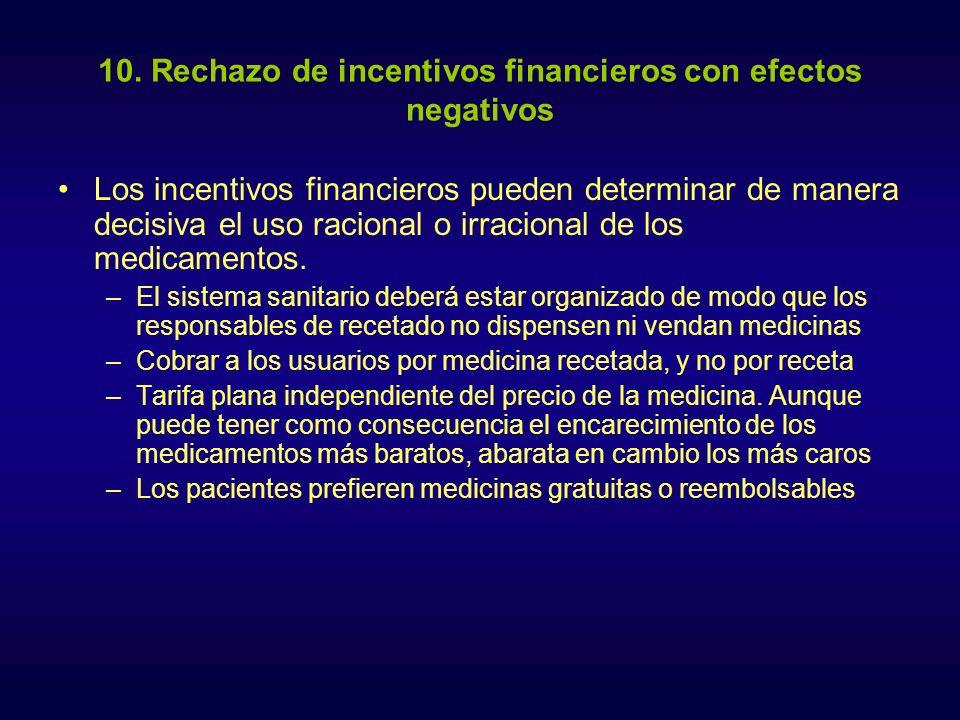 10. Rechazo de incentivos financieros con efectos negativos