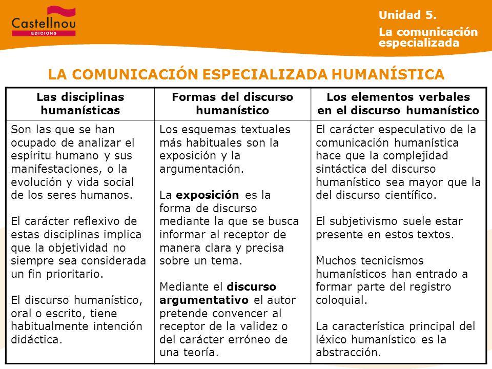 LA COMUNICACIÓN ESPECIALIZADA HUMANÍSTICA