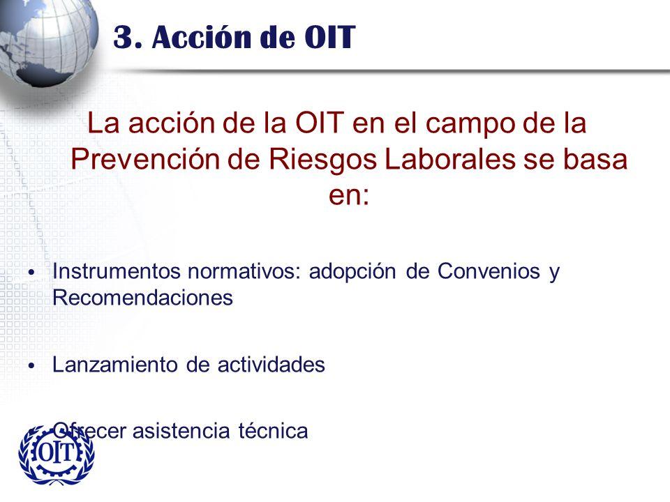 3. Acción de OIT La acción de la OIT en el campo de la Prevención de Riesgos Laborales se basa en: