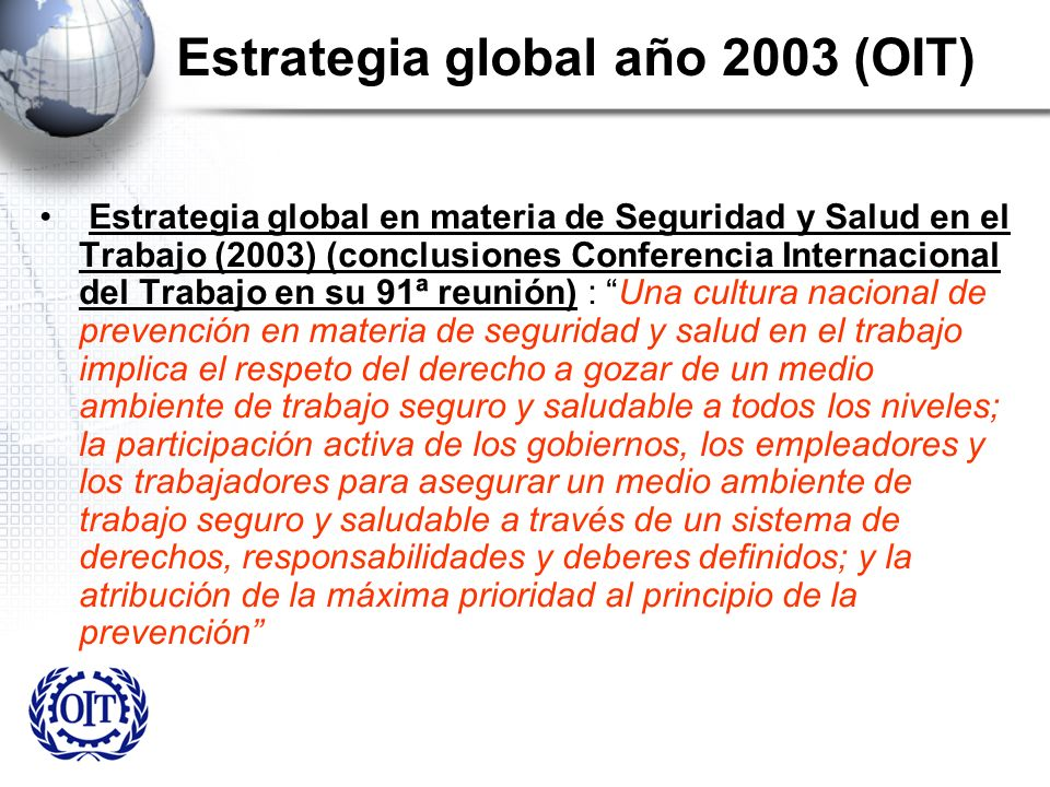 Estrategia global año 2003 (OIT)