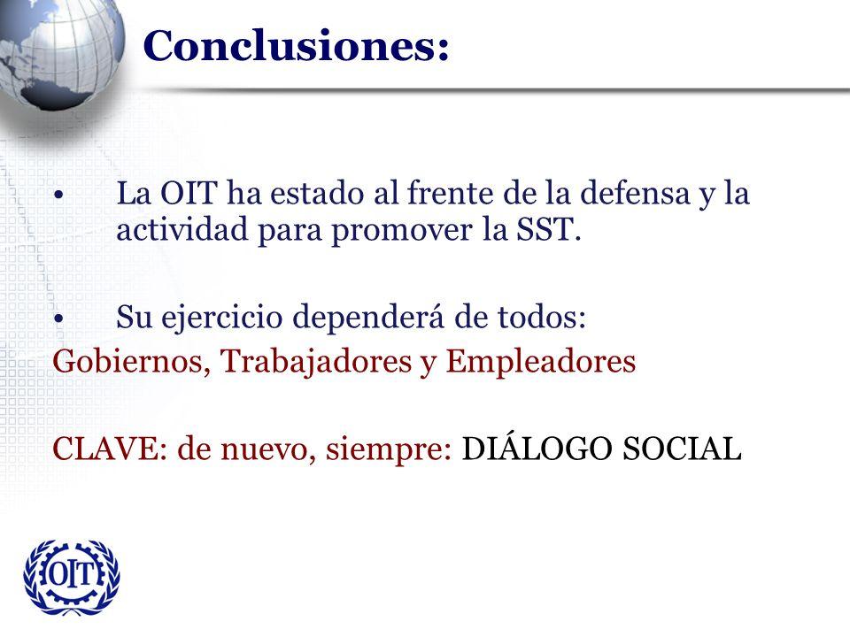 Conclusiones: La OIT ha estado al frente de la defensa y la actividad para promover la SST. Su ejercicio dependerá de todos: