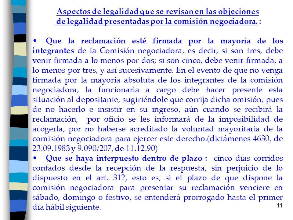 Aspectos de legalidad que se revisan en las objeciones