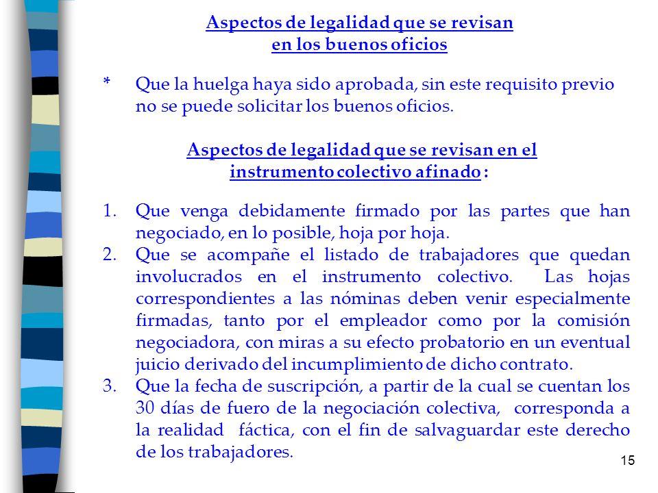 Aspectos de legalidad que se revisan