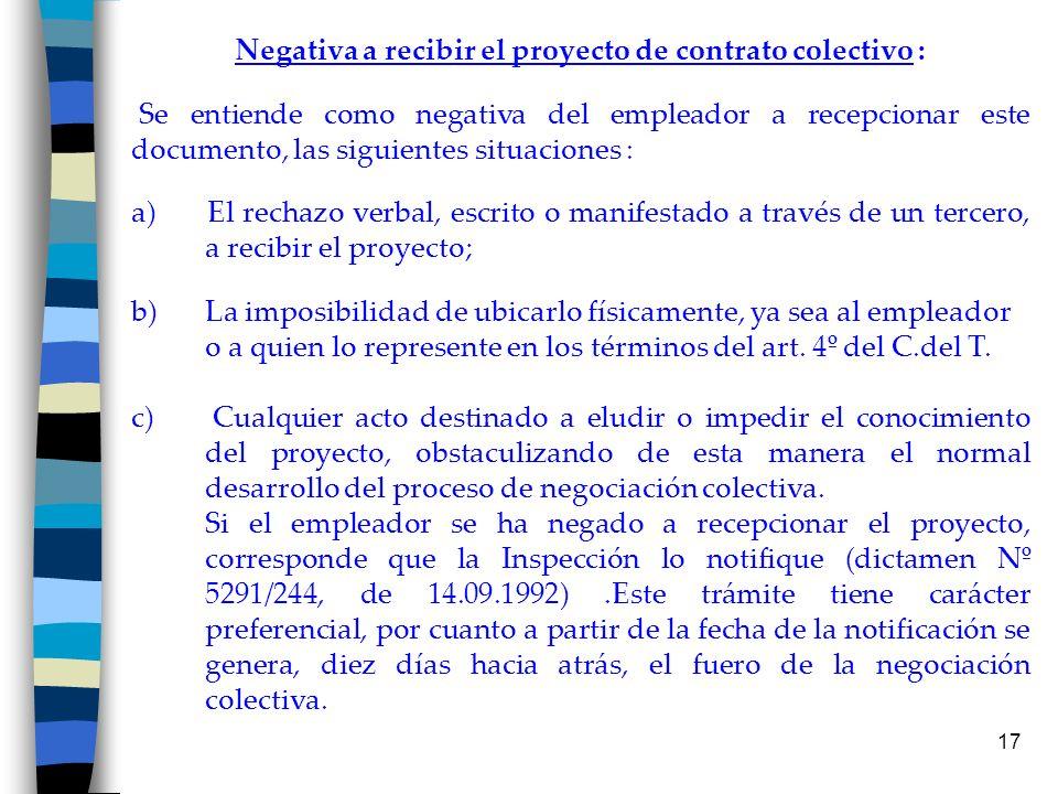Negativa a recibir el proyecto de contrato colectivo :