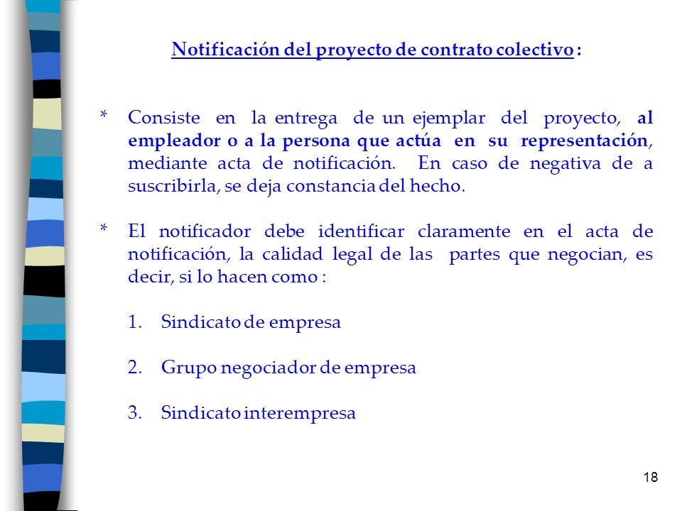 Notificación del proyecto de contrato colectivo :