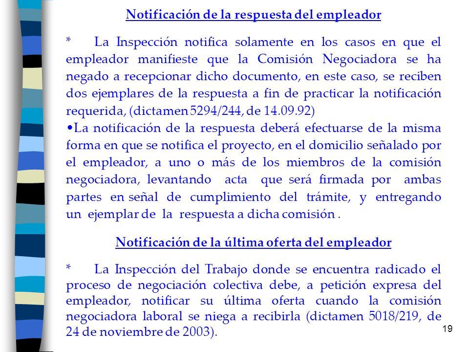 Notificación de la respuesta del empleador