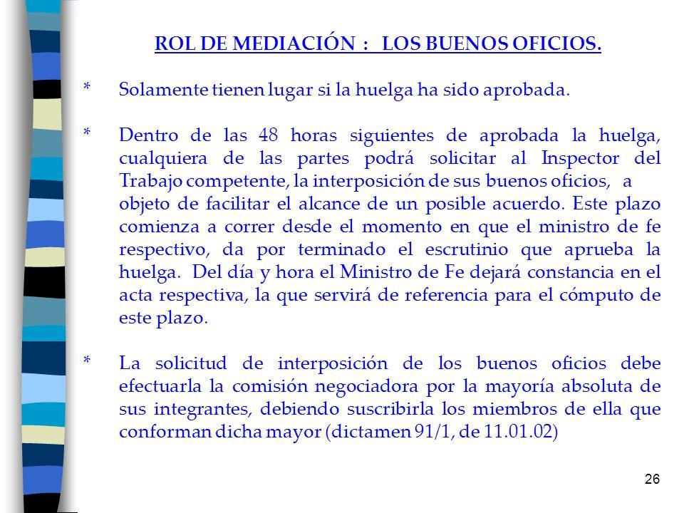 ROL DE MEDIACIÓN : LOS BUENOS OFICIOS.